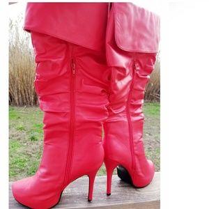 Insanely HOT🔥Red Knee-Hi Platform Boots